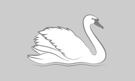 Symbol swan. Isolated sign or icon white swan on gray background. Graphic image swan. Logo. Vector illustration Фото со стока - 120619525