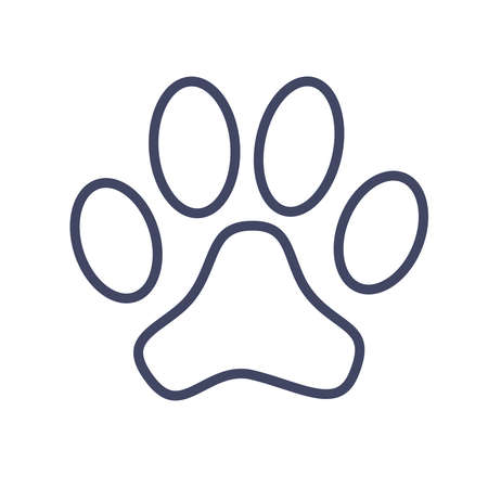 Paw print symbol isolated on white background. Vector illustration.
