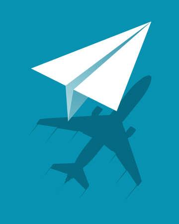 Papieren vliegtuig vliegt en werpt schaduw groot vliegtuig. Bedrijfsconcept. vector illustratie