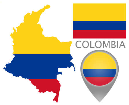 Colorful flag, map pointer and map of the Colombia in the colors of the Colombian flag. High detail. Vector illustration
