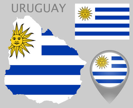 Colorful flag, map pointer and map of the Uruguay in the colors of the Uruguayan flag. High detail. Vector illustration