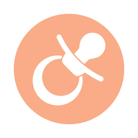 Baby pacifier icon. Sign soother or teether simple image. Isolated symbol in circle on white background. Graphics. Vector illustration Standard-Bild - 120619632