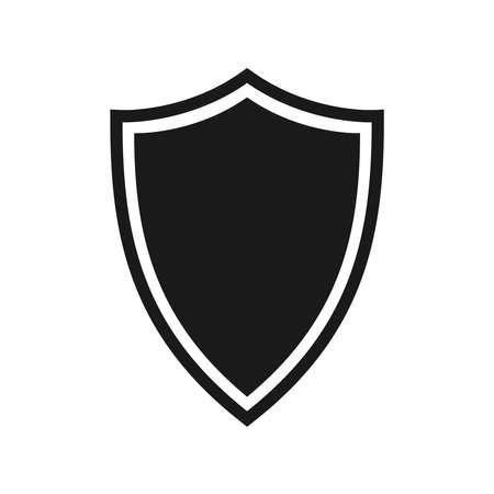 Icona dello scudo. Simbolo di protezione. Segno isolato scudo nero su sfondo bianco. Illustrazione vettoriale