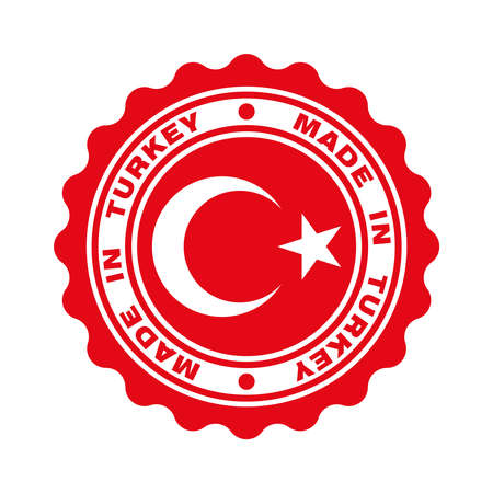 Stamp with text made in Turkey. turkish quality. Crescent and star in centre stamp. Icon premium quality. Label made in Turkey. Vector illustration