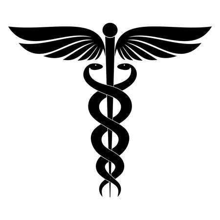 Caduceus의 현대 기호입니다. 의학의 상징입니다. 날개와 두 개의 교차 뱀이 있는 헤르메스의 지팡이. 흰색 배경에 고립 된 아이콘입니다. 벡터 일러스트 레이 션