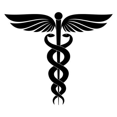 Signo moderno del caduceo. Símbolo de la medicina. La varita de Hermes con alas y dos serpientes cruzadas. Icono aislado sobre fondo blanco. Ilustración vectorial