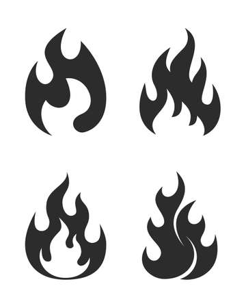 Set flames symbols. Black icons isolated on white background. Fire flame silhouettes. Simple signs. Vector illustration.