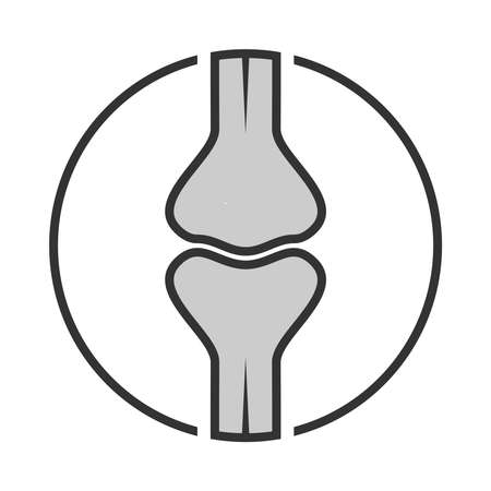 Icon joint. Human bones sign. Symbol human joint in circle isolated on white background. Vector illustration