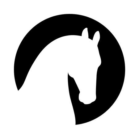 Head horse sign. Horse icon. Isolated white silhouette head horse in the black circle on white background. Vector illustration 矢量图像