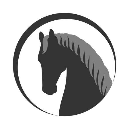 Head horse sign. Horse icon. Isolated silhouette head horse in the circle on white background. Vector illustration
