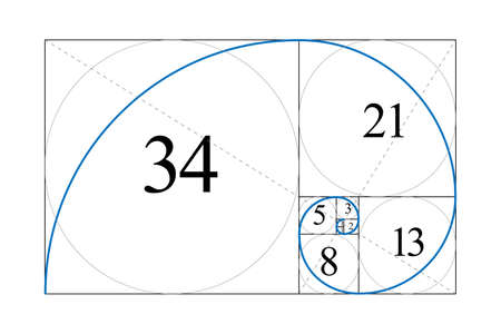 Golden ratio. Fibonacci number. Harmonic division. Spiral. Geometric concept. Vector illustration.