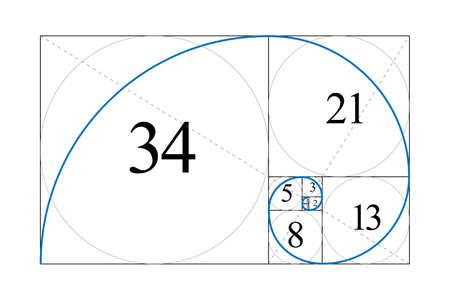 Golden ratio. Fibonacci number. Harmonic division. Spiral. Geometric concept. Vector illustration.