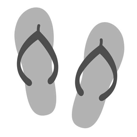 Flip flops sign. Summertime vacation attribute. Symbol of summer. Icon flip flops isolated on white background. Vector illustration