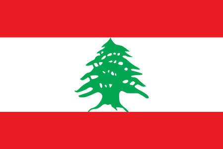 Lebanon flag with official colors and the aspect ratio of 2:3. Flat vector illustration.