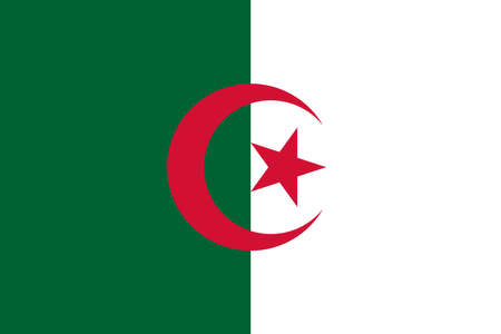 Algeria flag with official colors and the aspect ratio of 2:3. Flat vector illustration. Illustration