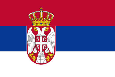 Serbia flag with official colors and the aspect ratio of 2:3. Flat vector illustration.