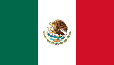 Bandera de México con colores oficiales y una relación de aspecto de 4: 7. Ilustración de vector plano.