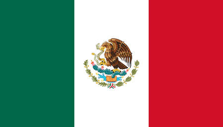 Mexico flag with official colors and the aspect ratio of 4:7. Flat vector illustration.