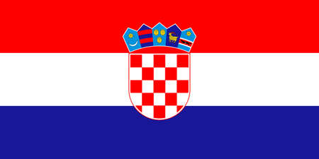 Croatia flag with official colors and the aspect ratio of 1:2. Flat vector illustration. Illustration
