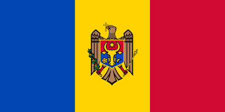 Moldova flag with official colors and the aspect ratio of 1:2. Flat vector illustration.
