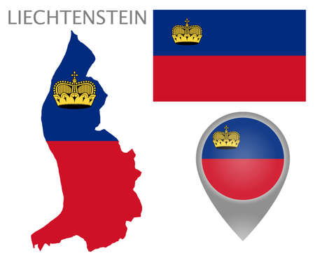 Colorful flag, map pointer and map of Liechtenstein in the colors of the Liechtenstein flag. High detail. Vector illustration