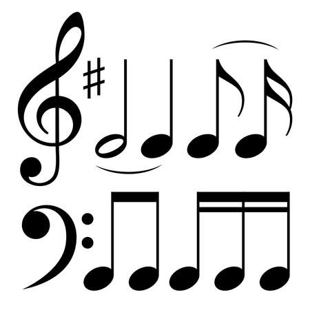 Music notes icons. Isolated signs on white background. Vector illustration