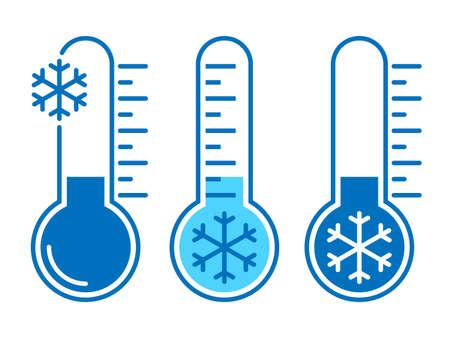 Icone temperatura fredda. Segni termometri con tempo freddo. Simboli isolati su sfondo bianco. Illustrazione vettoriale Vettoriali