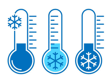 Icons cold temperature. Signs thermometers with cold weather. Isolated symbols on white background. Vector illustration