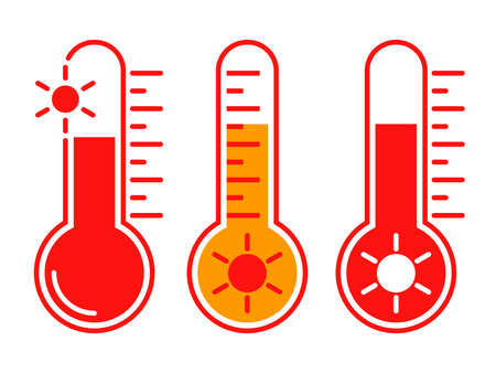 Icons hot temperature. Signs thermometers with hot weather. Isolated symbols on white background. Vector illustration