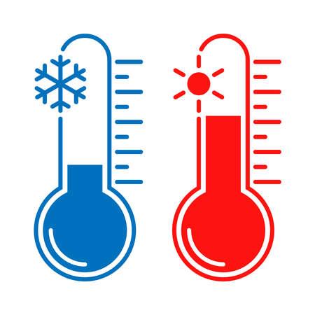 Iconos de temperatura fría y caliente. Termómetros de señales con clima frío y caluroso. Símbolos aislados sobre fondo blanco. Ilustración vectorial Ilustración de vector
