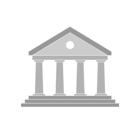 Bank building icon. Sign bank Isolated on white background. Facade of the bank. Flat style. Vector illustration