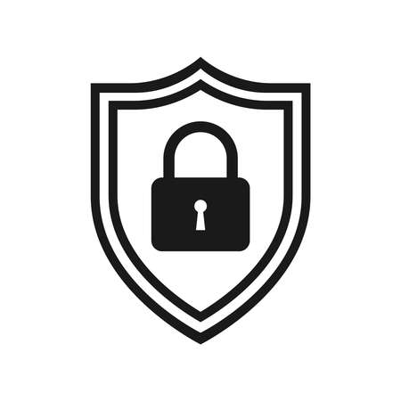 Secure internet icon. Protective shield sign digital security with the image of a padlock. Symbol security protection web. Vector illustration.