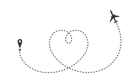 Airplane drew the heart. Airplane route in dotted line shape. Abstract airplane flying on white background. Travel concept. Vector illustration