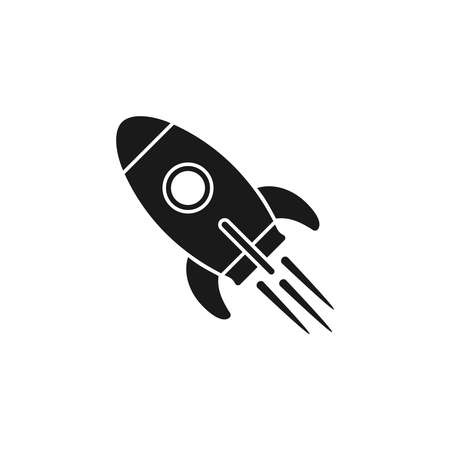 Rocket icon. Sign flying spaceship. Isolated symbol spacecraft on white background. Vector illustration Imagens - 124541755