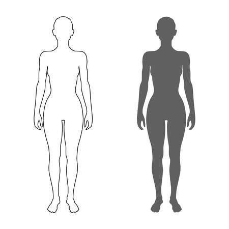 Silhouette und Kontur des weiblichen Körpers. Isolierte Symbole auf weißem Hintergrund. Vektor-Illustration