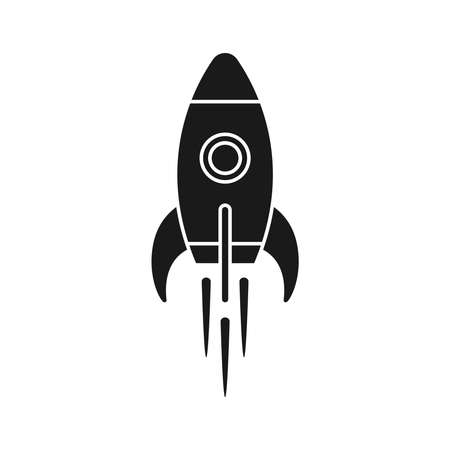 Rocket icon. Sign flying spaceship. Isolated symbol spacecraft on white background. Vector illustration