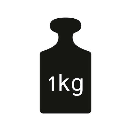 Icon kilogram weight. Isolated sign metal old 1 kg weight on white background. Vector illustration