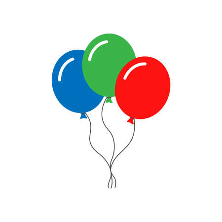 Three multicolored balloons sign. Isolated icon balloons on white background. Vector illustration Illustration