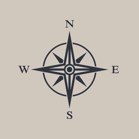 Compass icon. Wind rose sign. Isolated symbol compass. Logo. Vintage style. Vector illustration
