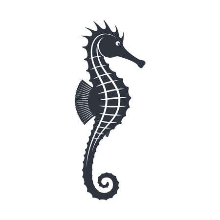 Seahorse graphic icon. Seahorse black sign isolated on white background. Sea life symbol. Tattoo. Logo. Vector illustration