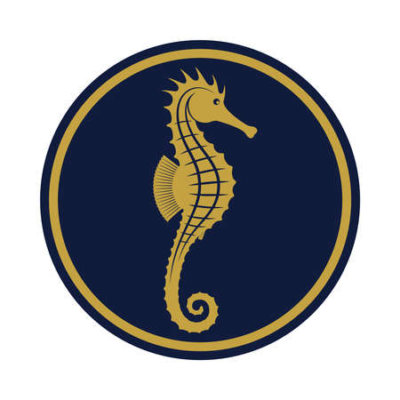 Seahorse icon. Seahorse sign in the circle isolated on white background. Sea life symbol. Vector illustration
