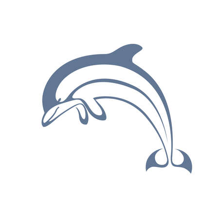 Icon jumping dolphin. Monochrome symbol dolphin isolated on white background. Sign dolphin. Sea symbol. Vector illustration Illustration