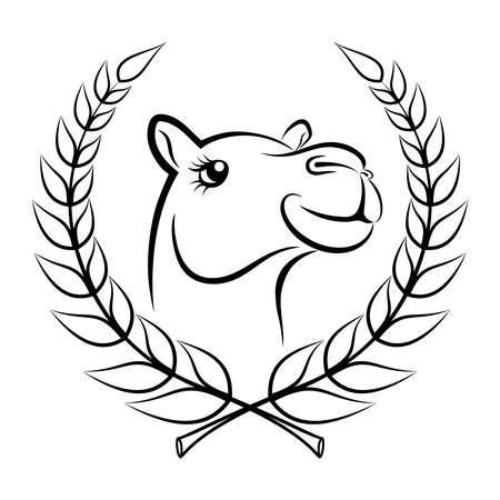 Sketch camel winner. Camel head symbol in laurel wreath. Camel sign Isolated on white background. Vector Illustration