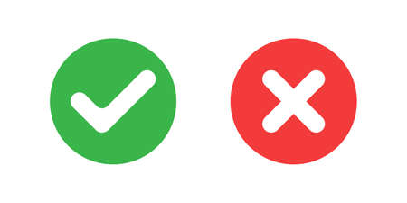 Icons YES and NO button. TICK and CROSS symbols for vote. GREEN button with checkmark and RED button with cross. Round marks with simple graphic design. Isolated signs on white background. Vector illustration