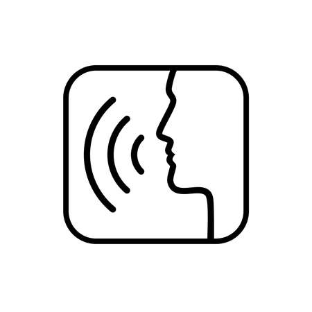 Speaking man sign. Head contour with sound waves isolated on white background. Icon voice with sound waves. Vector illustration