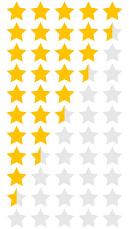 Stars set for ratings. Customer product and service ratings. Icons reviews customer in flat design for apps and websites 免版税图像 - 129010857