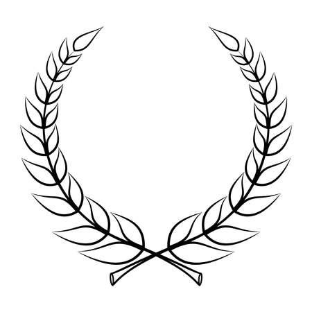 Laurel wreath icon. Emblem made of laurel branches. Laurel leaves symbol of high quality olive plants. Sign isolated on white background. Vector illustration Illustration