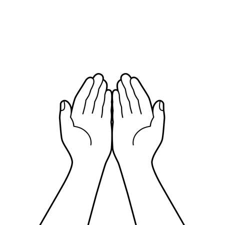 Gesture of the hands folded in prayer. Hands cupped together isolated symbol on white background. Graphic icon. Vector illustration Vettoriali