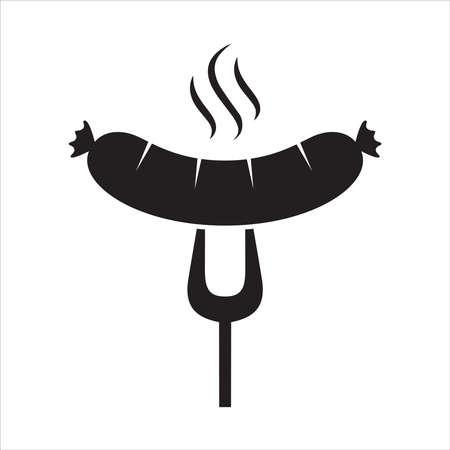 Saucisse grillée sur l'icône de fourchette de barbecue. Saucisse chaude sur le signe d'isolement de fourchette de BBQ sur le fond blanc. Illustration vectorielle Vecteurs