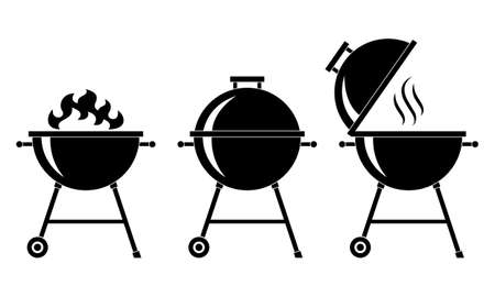 Grills bbq set icons. Grills barbecue symbols Isolated black signs on white background. Vector illustration